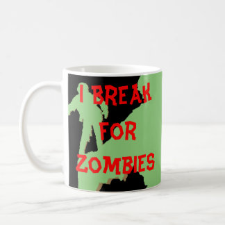 I Break for Zombies Green Silhouettes Coffee Mug