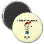 I Breathe Golf 2 Inch Round Magnet