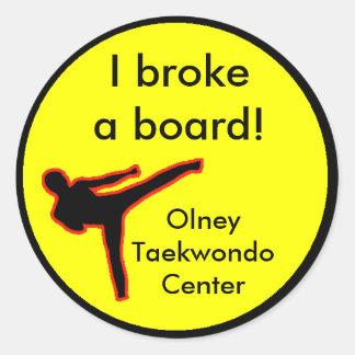 I broke a board classic round sticker