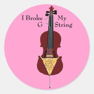I Broke My G String (Cello) Classic Round Sticker