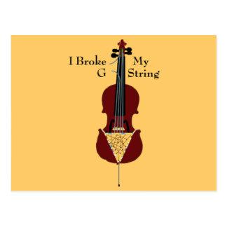 I Broke My G String (Cello) Postcard