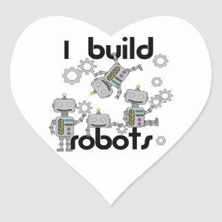 I Build Robots Heart Sticker