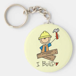 I Build Stick Figure Carpenter Tshirts Basic Round Button Keychain