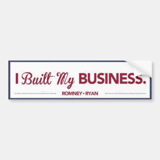 I Built My Business Bumper Sticker Blue Border Car Bumper Sticker