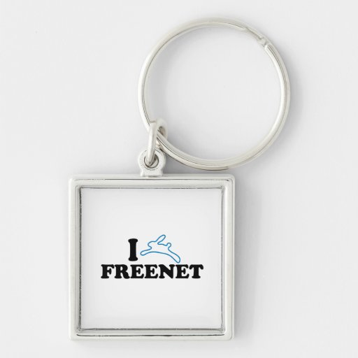 I Bunny Freenet Silver-Colored Square Keychain