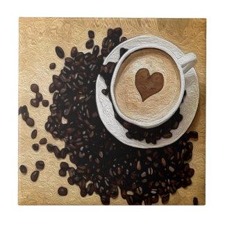I café del corazón azulejo cuadrado pequeño