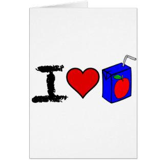 I cajas del jugo del corazón tarjeta de felicitación