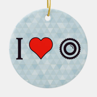 I cámaras de vídeo del corazón adorno navideño redondo de cerámica
