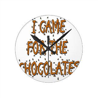 I Came for the Chocolates Round Clock