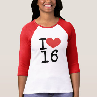 I camiseta del corazón 16 playera