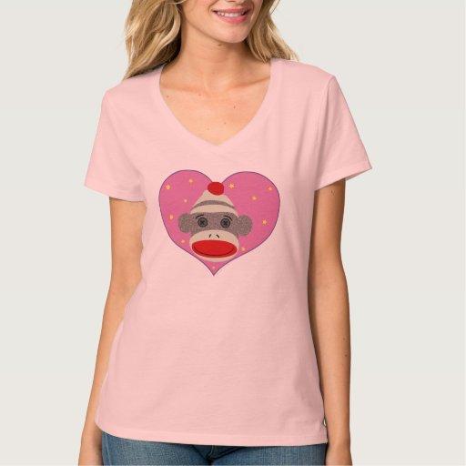 I camiseta del mono del calcetín del corazón camisas