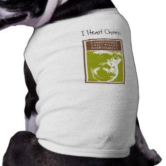 I camiseta del perrito de los chimpancés del coraz playera sin mangas para perro