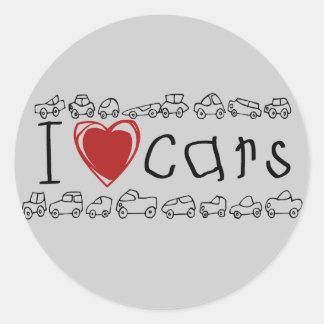 I camisetas y regalos de los coches del corazón pegatina redonda