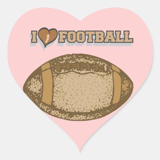 I camisetas y regalos del fútbol del corazón calcomanía corazón