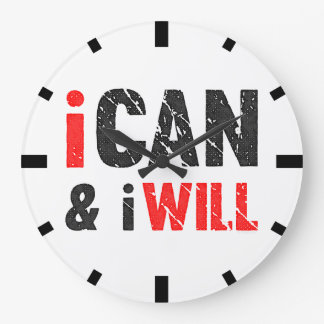 I Can And I Will| Vintage Look Large Clock