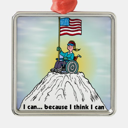 I Can Because I Think I Can ormanent Square Metal Christmas Ornament