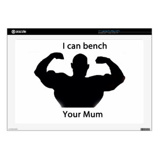 """I can bench your mum 17"""" laptop decals"""