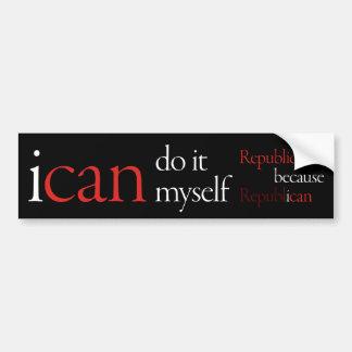 """""""i can"""" Bumpersticker Black Car Bumper Sticker"""