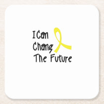 I Can Chang Future Childhood Cancer Awareness Square Paper Coaster