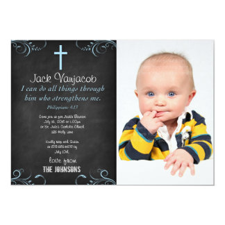 """I can do all things through Christ Baby 5"""" X 7"""" Invitation Card"""