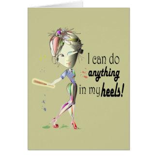 I can do Baseball in my heels! Fun Girl Shoe Art Note Card