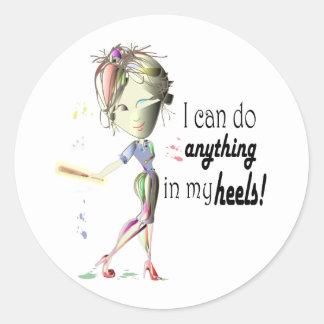 I can do Baseball in my heels! Fun Girl Shoe Art Classic Round Sticker