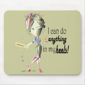 I can do Baseball in my heels! Fun Girl Shoe Art Mouse Pad