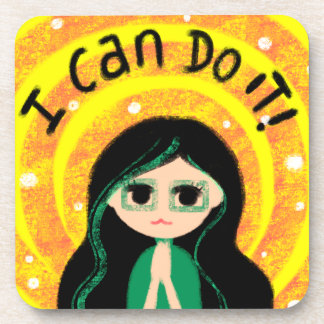I Can Do It Uplifting Positivity Girl Painting Beverage Coaster