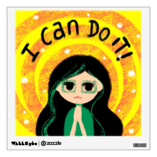 I Can Do It Uplifting Positivity Girl Painting Wall Decal