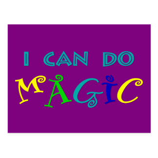I can do magic, retro, playful, colorful postcard