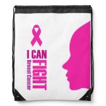 I can fight breast cancer- support women drawstring bag