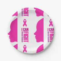 I can fight breast cancer- support women paper plate