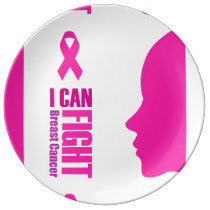 I can fight breast cancer- support women plate