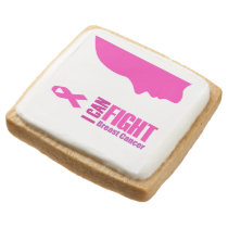 I can fight breast cancer- support women square shortbread cookie