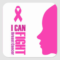 I can fight breast cancer- support women square sticker