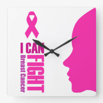 I can fight breast cancer- support women square wall clock