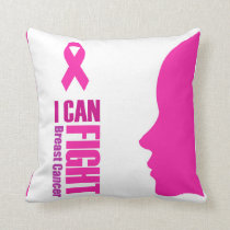 I can fight breast cancer- support women throw pillow