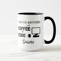 I Can Fix Anything With Coffee and Code Funny Mug