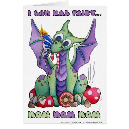 I Can Haz Fairy NOM NOM NOM cute baby dragon Card
