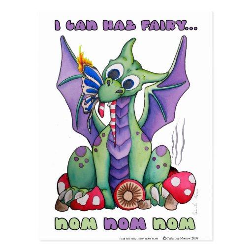 I Can Haz Fairy NOM NOM NOM cute baby dragon Post Card