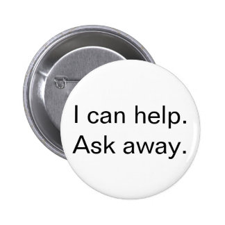"""I can help"" Customer service button, white Button"