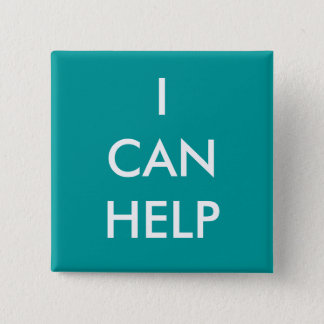 I Can Help  Volunteer Button Charity Events Blue