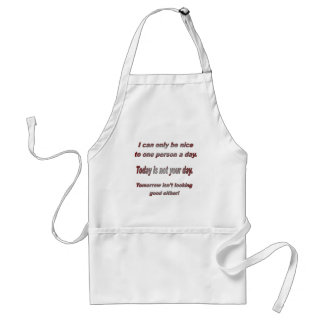I can only be nice to one person a day adult apron