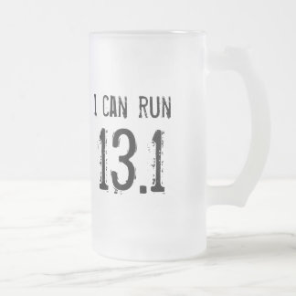 I can run 13.1 - left-handers frosted glass beer mug