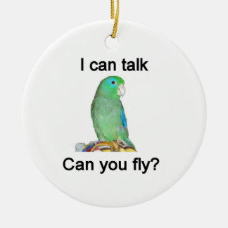 I can talk, Can you fly? Ceramic Ornament