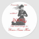 I Cannot Live Without Books Bookplates Classic Round Sticker