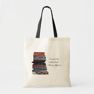 I cannot live without books -old stack of books canvas bag