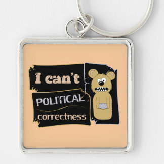 I can't bear political corectness Silver-Colored square keychain