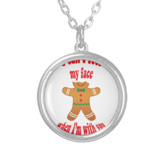 I can't feel my face - funny Christmas gingerbread Silver Plated Necklace