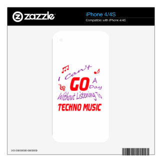 I can't go a day without listening to Techno music iPhone 4S Decals